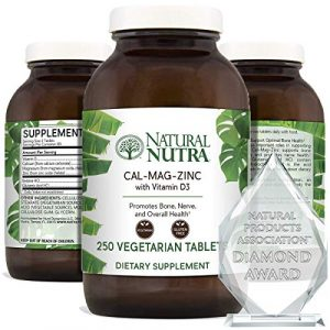 Natural Nutra Calcium Supplement 1 Natural Nutra Calcium Magnesium Zinc Supplement with Vitamin D3 for Bone Strength, Healing and Health, Gluten Free and Sugar Free, Essential Mineral Complex, 1000/500/25 mg (250 Count)