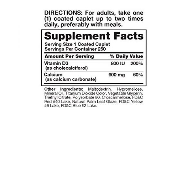 Nature's Truth Calcium Supplement 2 Nature's Truth Calcium 600 mg Plus Vitamin D3 Tablets, 250 Count