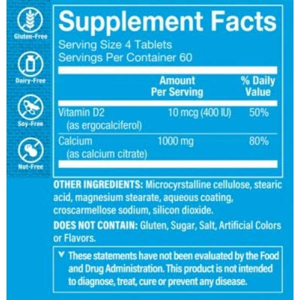 The Vitamin Shoppe Calcium Supplement 2 Calcium Citrate with 400IU Vitamin D - Mineral Essential for Healthy Bones Teeth - 100 Daily Value of Well Absorbed Form of Chelated Calcium, Vitamin D (as Ergocalciferol) (240 Tablets)
