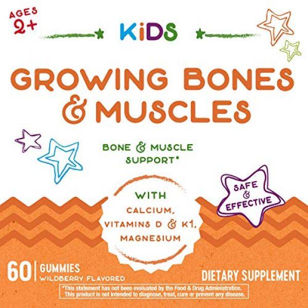 Nature's Way Calcium Supplement 2 Natures Way Kids Growing Bones & Muscles, Calcium & Vitamin D, Ages 4+ Wildberry Flavor, 60 Gummies
