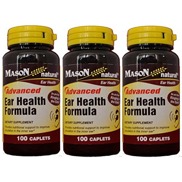 MASON Calcium Supplement 1 Mason Natural Advance Ear Health Formula Bioflavonoids Plus 100 Caplets per Bottle Pack of 3 Total 300 Caplets