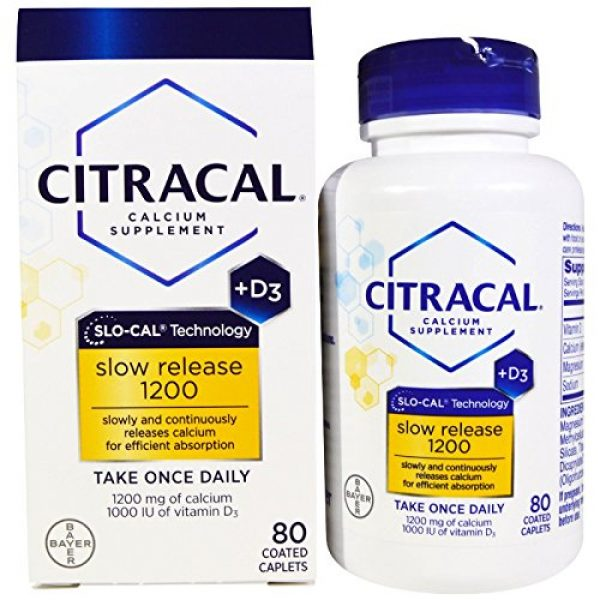 CITRACAL Calcium Supplement 1 Citracal Calcium Plus D Slow Release 1200, 80 Count (Pack of 3)