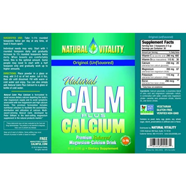 Natural Vitality Calcium Supplement 4 Natural Vitality Calm PLUS Calcium Supplement Powder, Original - 8 ounce (Packaging May Vary)