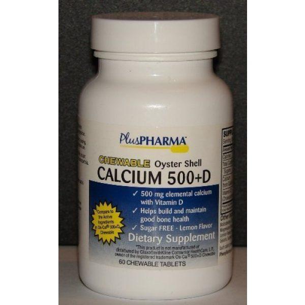 PlusPharma Calcium Supplement 2 Chewable Calcium 500 plus D (Compare to Os-Cal 500 Chewable) 60ct