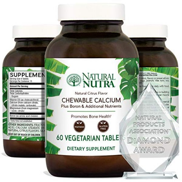 Natural Nutra Calcium Supplement 1 Natural Nutra Calcium Citrate Chewables with Magnesium and Vitamin D3, 1000/500 mg, Cal Mag D3 Chews for Bone, Teeth, Heart, Muscle and Nerve Health, Delicious Citrus Flavor, 60 Vegetarian Tablets