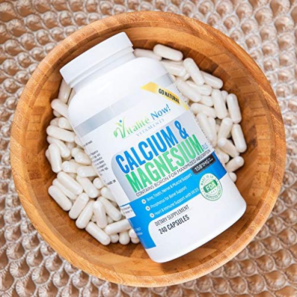 Vitalit Now Calcium Supplement 4 Best Calcium & Magnesium + Vitamin D3 400 IU - Highly Absorbable with Boron - 10 Forms of Calcium + Phosphorus for Bone Strength - All Natural - 240 Capsules - 2 Month Supply!