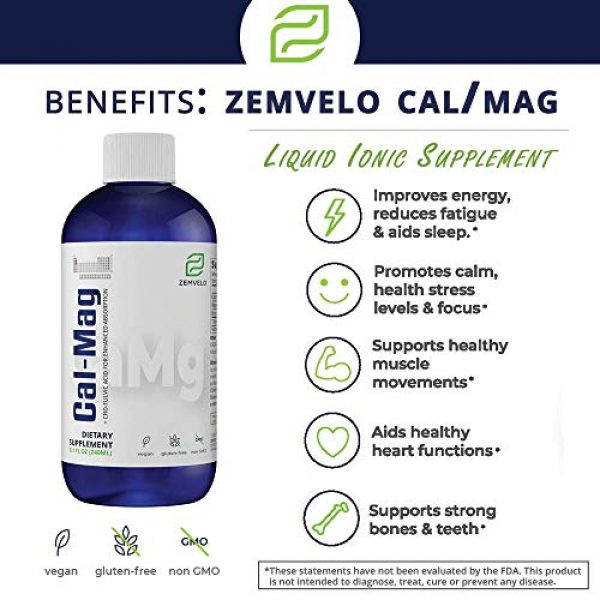 Zemvelo Calcium Supplement 4 Liquid Ionic Cal/MAG (Calcium, Magnesium, Boron) | Supports Strong Teeth & Bones, Muscle Function, Heart Health, Restful Sleep | 8 Oz, 48 Day Supply