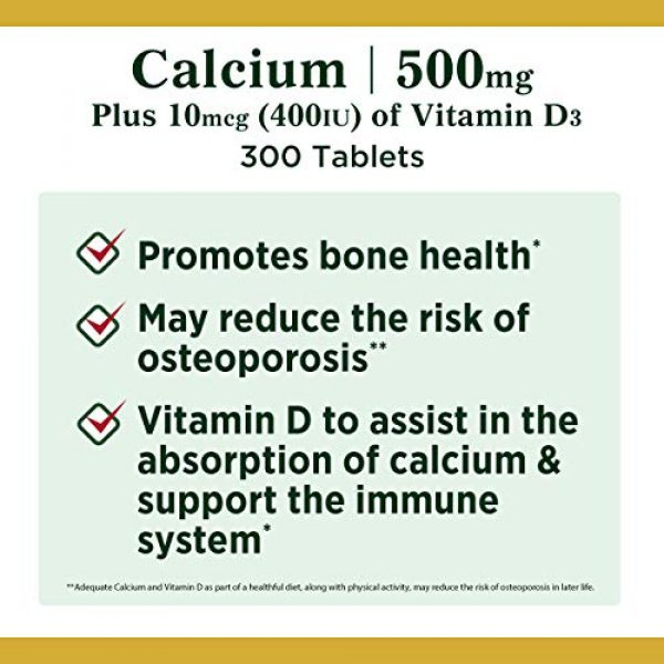 Nature's Bounty Calcium Supplement 4 Calcium & Vitamin D by Nature's Bounty, Immnue Support & Bone Health, 500mg Calcium & 400IU D3, 300 Tablets