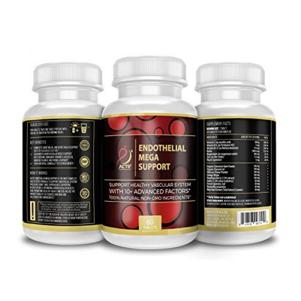 ACTIF Calcium Supplement 5 Actif Endothelial Mega Support with 10+ Factors, Maximum Endothelial System Support, Non-GMO, 60 Count