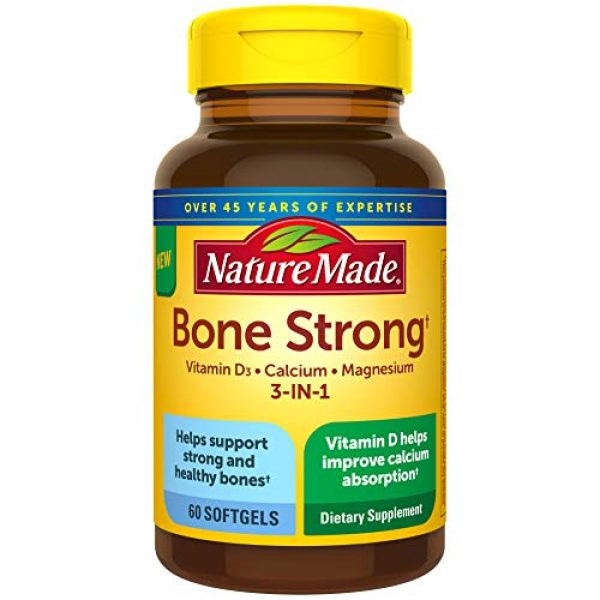 Nature Made Calcium Supplement 1 Nature Made Bone Strong with Calcium 260mg Helps Support Bone Strength, Vitamin D3 1000IU to Aid in Calcium Absorption, and Magnesium 250mg for Bone Health, 60 Count