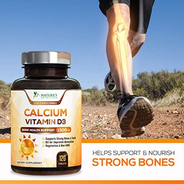 Nature's Nutrition Calcium Supplement 4 Calcium Supplement with Vitamin D3 - High Potency Calcium Carbonate 1300mg - Made in USA - Calcium to Support Bone Health and Help Strong Bones for Women and Men - Non-GMO - 120 Tablets