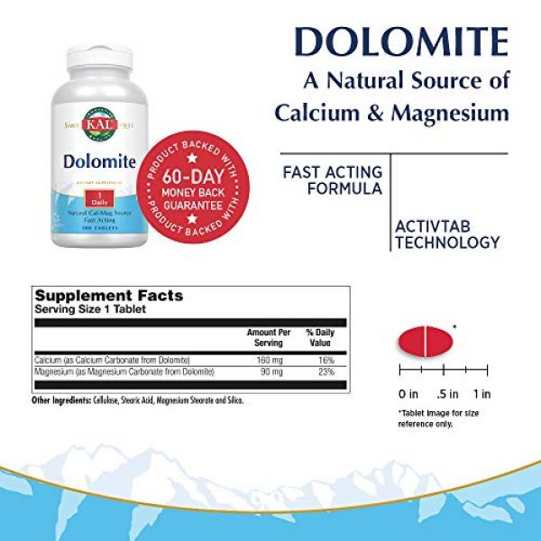 KAL Calcium Supplement 2 KAL Dolomite Tablets, 250.4 mg, 500 Count