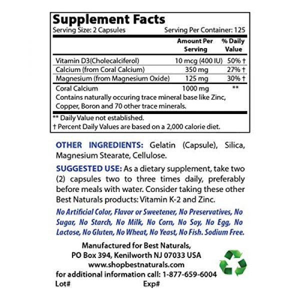 Best Naturals Calcium Supplement 2 Best Naturals Coral Calcium Plus 1000 mg 250 Capsules