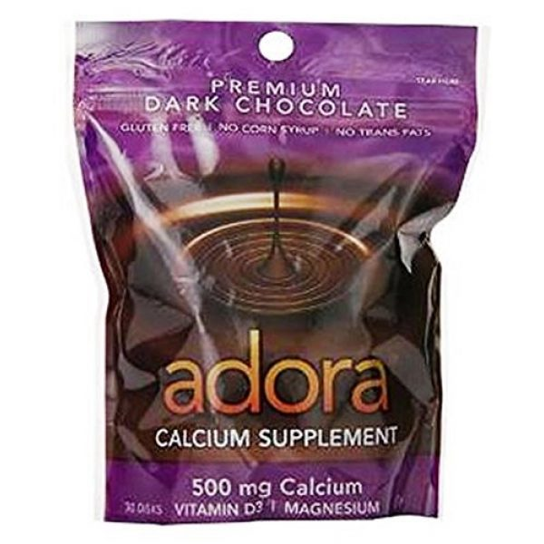 Adora Calcium Supplement 1 Adora Calcium Supplement Disk, Organic Dark Chocolate, 30 Count - Buy Packs and SAVE (Pack of 3)