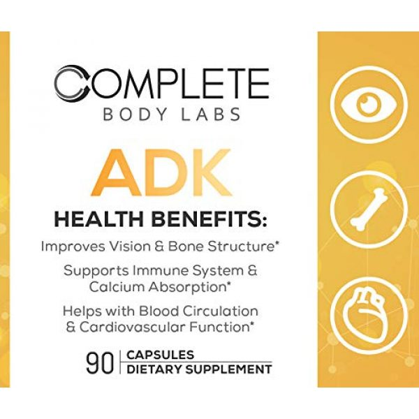 Complete Body Labs Calcium Supplement 4 Complete Body Labs ADK, Vitamin A D3 & K2 (MK-7), Support Strong Bone Structure, Ocular Health, Immune Function, Calcium Absorption & Cardiovascular Health, 90 Capsules, Non-GMO Ingredients