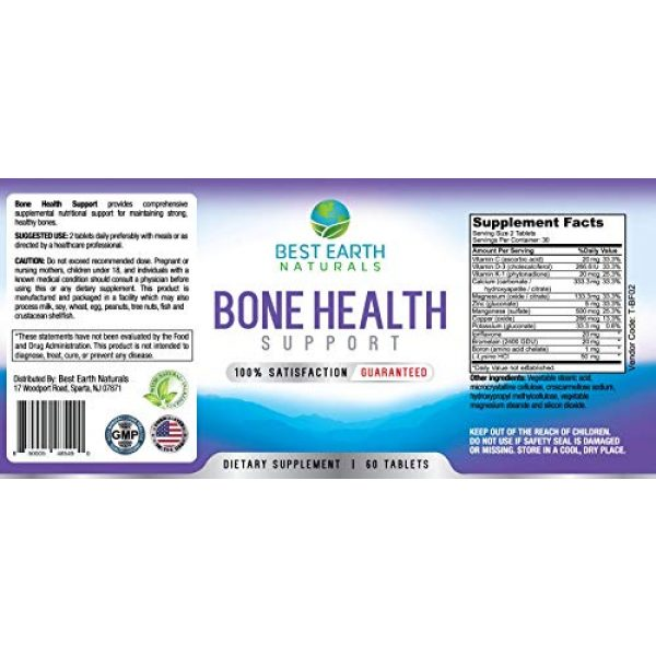 Best Earth Naturals Calcium Supplement 5 Bone Health Support for Men and Women with Calcium and Bone Vitamins to Maintain Strong, Healthy Bones - 60 Tablets