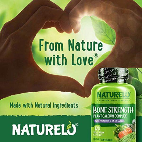 NATURELO Calcium Supplement 4 NATURELO Bone Strength - Plant-Based Calcium, Magnesium, Potassium, Vitamin D3, VIT C, K2 - GMO, Soy, Gluten Free Ingredients - Whole Food Supplement for Bone Health - 120 Vegetarian Capsules