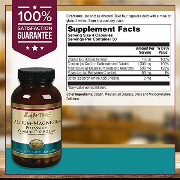 LIFETIME Calcium Supplement 2 Lifetime Calcium Magnesium Potassium, Vitamin D & Boron   Support Bone & Muscle Health   Easy Absorption   120 Capsules, 30 Servings