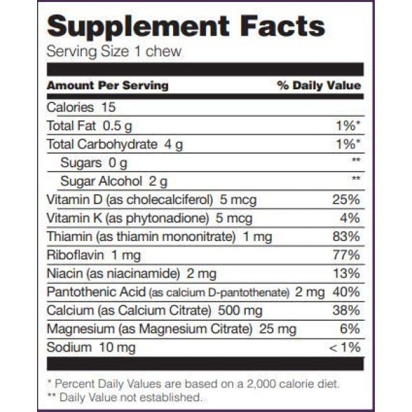 Bariatric Fusion Calcium Supplement 2 Bariatric Fusion Calcium Citrate 500mg & Energy Soft Chews Cran-Grape Flavor for Bariatric Surgery Patients Including Gastric Bypass and Sleeve Gastrectomy, 60 Count, Sugar Free, Made in The USA