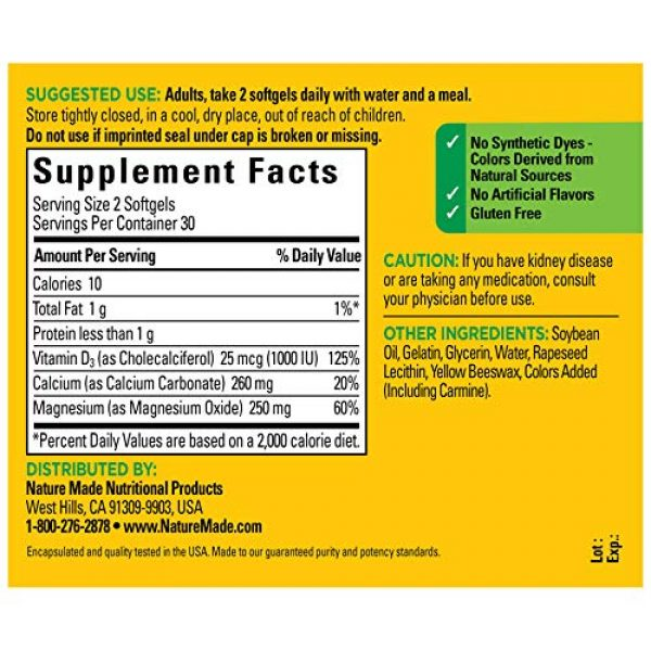 Nature Made Calcium Supplement 2 Nature Made Bone Strong with Calcium 260mg Helps Support Bone Strength, Vitamin D3 1000IU to Aid in Calcium Absorption, and Magnesium 250mg for Bone Health, 60 Count