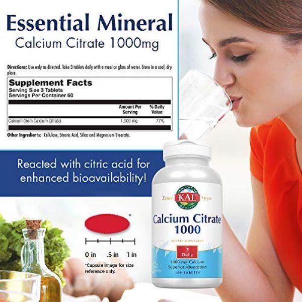 KAL Calcium Supplement 2 KAL Calcium Citrate, 1000 mg, 180 tabs