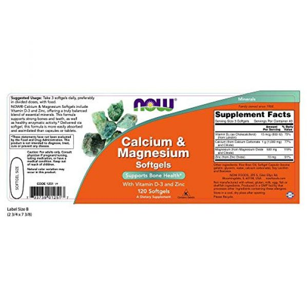 NOW Foods Calcium Supplement 2 NOW Supplements, Calcium & Magnesium with Vitamin D-3 and Zinc, Supports Bone Health*, 120 Softgels