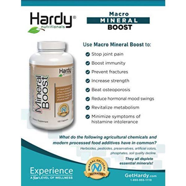 Hardy Nutritionals Calcium Supplement 4 Macro Mineral Boost - High Intensity Calcium Supplement for Bone & Teeth Health with Vitamin C, D, K, Calcium, Phosphorus, and Magnesium, Ultra Absorbable