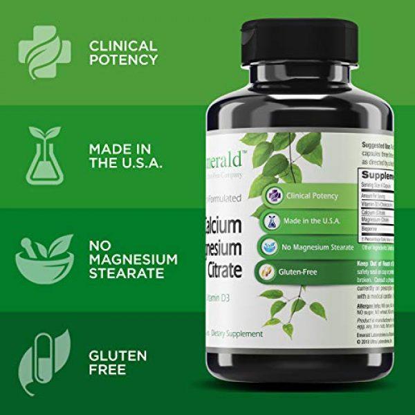 Ultra Botanicals Calcium Supplement 4 Emerald Labs Calcium Magnesium Citrate with 1,200 IU Vitamin D for Bone Support, Helps Maintain Immune System Health - 180 Capsules