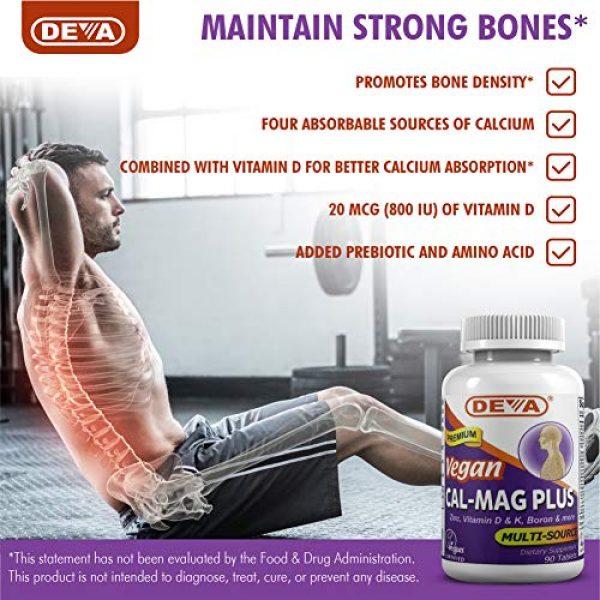 DEVA Calcium Supplement 5 DEVA Vegan Cal MAG Plus - Supplement with Calcium, Magnesium, Zinc, Boron, Vitamin C, D & K - Daily Nutritional Supplement to Maintain Strong Bones* - 90 Vegetarian/Vegan Tablets, 2-Pack