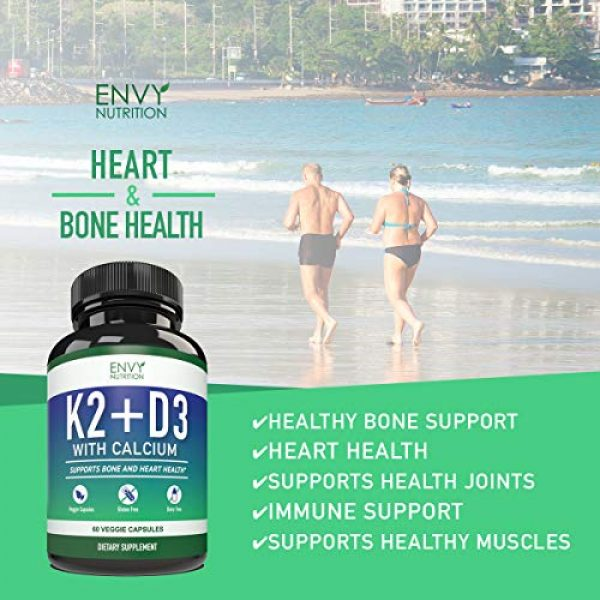 Envy Nutrition Calcium Supplement 5 K2 D3 with Calcium Supplement - Bone Health Vitamin for Men and Women - Support Mobility, Immunity, Strength, and Vitality - Enhanced Absorption with BioPerine - 30 Day Supply - 60 Capsules