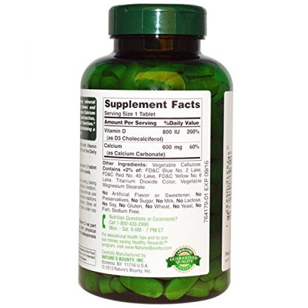 Nature's Bounty Calcium Supplement 2 Nature's Bounty Calcium 600 with Vitamin D3-250 Tablets