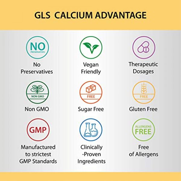 GLS Pharmaceuticals Calcium Supplement 7 Calcium 600 mg with Vitamin D3 400 IU - Pure and Natural Vegan Caps - Bone and Joint Health Supplement for Women And Men - 120 Easy to Swallow Mini Calcium Pills - Bone Support Capsules by GLS