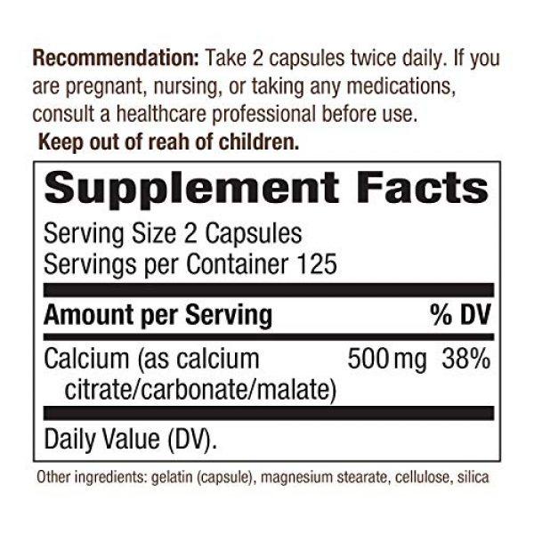 Nature's Way Calcium Supplement 6 Nature's Way Calcium Citrate Complex, 500 mg per Serving, 250 Capsules