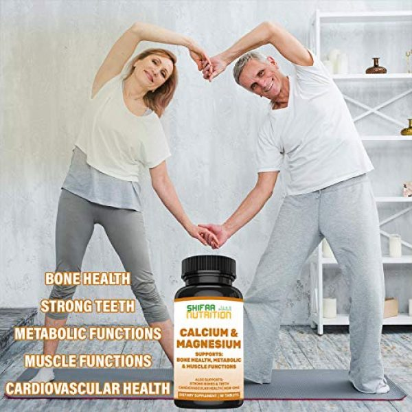 SHIFAA NUTRITION Calcium Supplement 4 Bone Strength Calcium Magnesium Supplement by SHIFAA NUTRITION   With Vitamin D3, Trace Minerals   Supports Cardiovascular Health & Metabolic Functions   NON-GMO Cal Mag   Halal Vitamins   30 servings