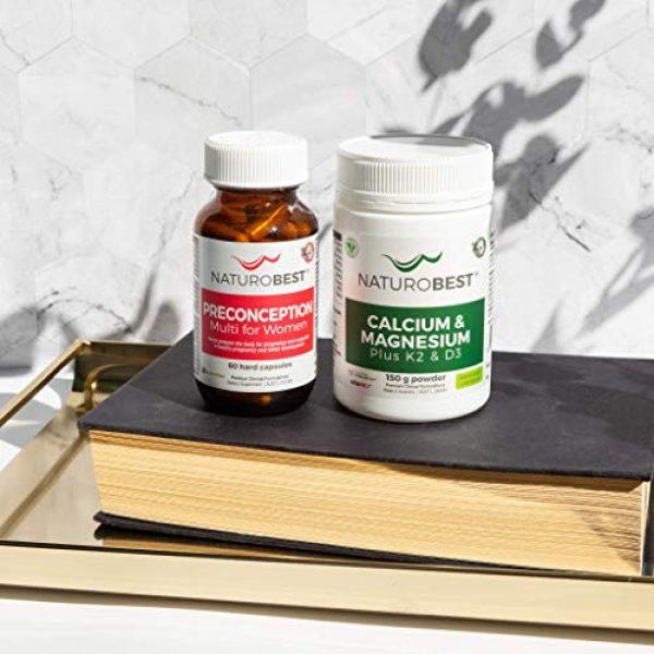 NATUROBEST Calcium Supplement 5 NaturoBest Calcium & Magnesium Plus K2 & D3 Powder | Vegan-Friendly, High Potency Calcium and Magnesium with Co-Factor Vitamins K2 and D3 (150g Powder)
