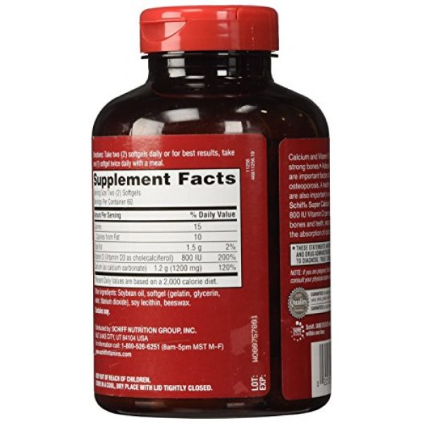 Schiff Calcium Supplement 3 Schiff Super Calcium - 1200 mg - 120 Softgels