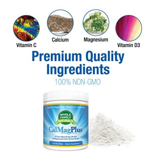 Whole Family Naturals Calcium Supplement 2 Calcium Magnesium Powder Supplement - CalMag Plus with Vitamin C & D3 - Gluten Free, Non GMO, Unflavored - Natural Calm & Stress Relief Cal Mag Drink - Cal-Mag for Leg Cramps