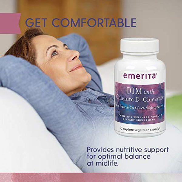 Emerita Calcium Supplement 4 Emerita® DIM Formula with Calcium D-Glucarate   Women Health & Dietary Supplement   Optimal Balance Nutritive Support   60 Soy-Free Vegetarian Caps