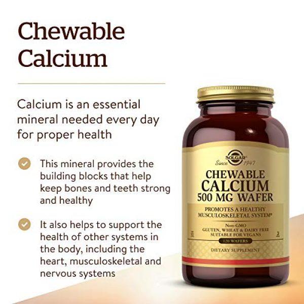 Solgar Calcium Supplement 3 Solgar - Chewable Calcium Wafers, 500 Mg, 120 Wafers