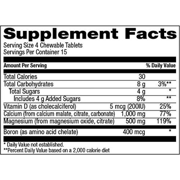 Natural Vitamin Co. Calcium Supplement 4 Natural Vitamin Co. - Chewable Calcium 1,000mg Plus Magnesium 500mg, Vitamin D3 200IU, and Boron 400mcg, Natural Citrus Flavor, 60 Tablets, 15 Day Supply, Gluten Free, Vegetarian