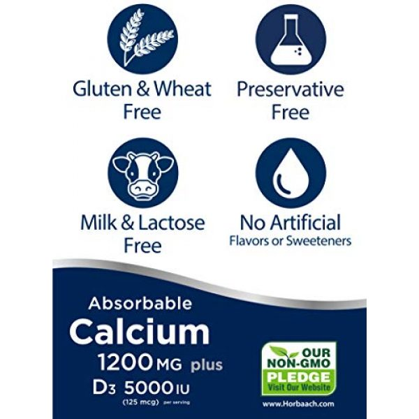 Horbach Calcium Supplement 4 Absorbable Calcium + D3 | 1200 mg | 240 Softgels | 5000 IU Vitamin D3 | Non-GMO, Gluten Free Supplement | by Horbaach