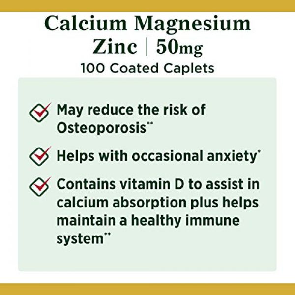 Nature's Bounty Calcium Supplement 4 Calcium Magnesium & Zinc by Nature's Bounty, Immune Support and Supporting Bone Health, 100 Caplets