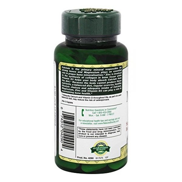 Nature's Bounty Calcium Supplement 3 Nature's Bounty Calcium-magnesium-zinc Caplets, 200 Caplets (2 X 100 Count Bottles)