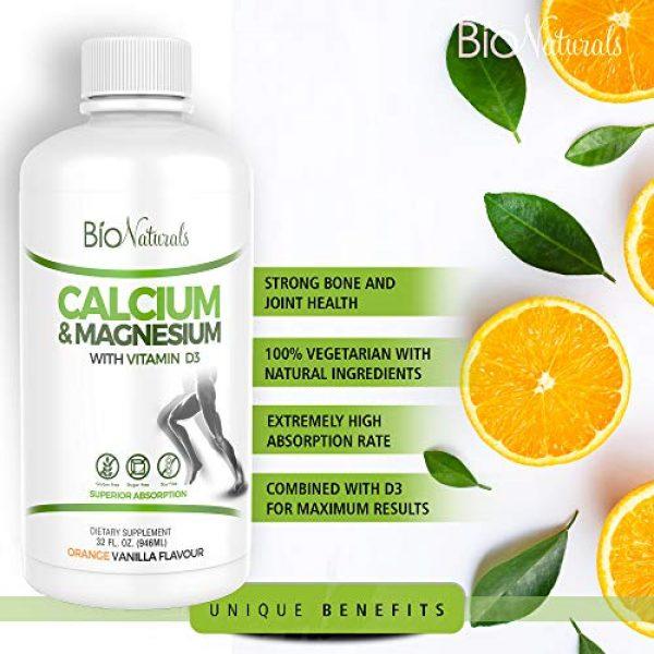 Bio Naturals Calcium Supplement 3 Bio Naturals Calcium & Magnesium Liquid Supplement with Vitamin D3 - Natural Formula, FOUR Types of Calcium Supports Strong Bones with Superior Absorption to Pills - 100% Vegetarian - 32 fl oz
