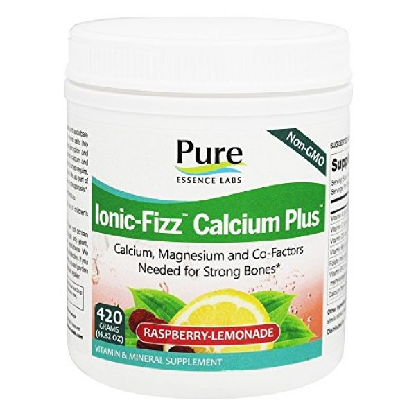 PURE ESSENCE LABS Calcium Supplement 2 Pure Essence Labs - Ionic-Fizz Calcium Plus Dairy Free Raspberry Lemonade Flavor - 14.82 oz.