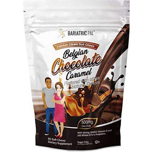 BariatricPal Calcium Supplement 1 BariatricPal Sugar-Free Calcium Citrate Soft Chews 500mg with Probiotics - Belgian Chocolate Caramel (1-Pack (90 Count))