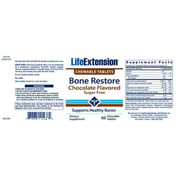 Life Extension Calcium Supplement 2 Life Extension Bone Re 60 Chewable Tablets (Sugar-Free Chocolate)