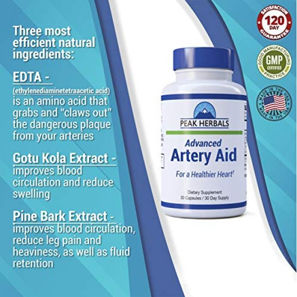 Peak Herbals Calcium Supplement 5 Advanced Artery Aid Supplement for Heart Health Support, addresses Poor Circulation and Targets clogged Arteries Throughout The Body. Helps Remove toxins and Supports Clean and Supple Arteries. (2)