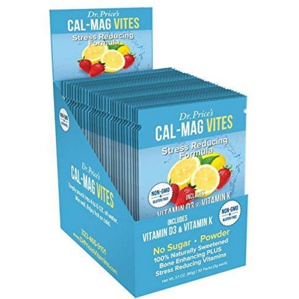 Dr. Price's Vitamins Calcium Supplement 1 Cal-Mag Vites Calcium Magnesium Powder for Men and Women   Vitamin K, D, Mineral Supplement   Natural Calming Stress Relief Drink   Strawberry-Lemon 30 Packets   Dr. Price's Vitamins, No Sugar Non-GMO