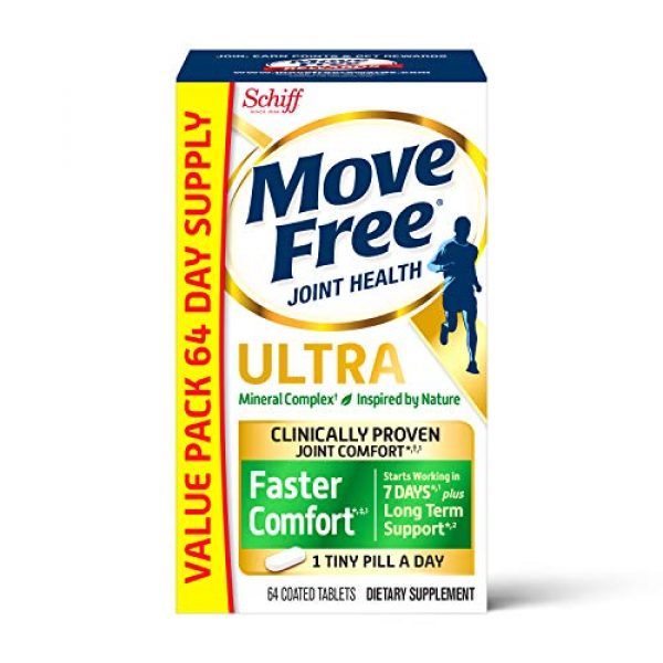 Move Free Calcium Supplement 1 Calcium & Calcium Fructoborate Based Ultra Faster Comfort Tablets Value Pack, Move Free (64 Count in A Box), Joint Health Supplement That Provides Clinically Proven Joint Comfort in 1 Tiny Pill
